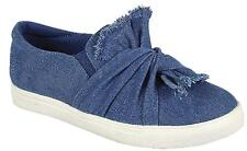 Denim Distressed Oversized Tie Knotted Bow SlipOn Elastic Flats Fashion Sneakers