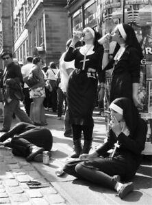 Smoking Nuns Smoking Print Black and White Poster Funny Wall Art Canvas Painting
