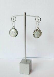 STERLING SILVER-925- ANCIENT ROMAN GLASS-PZ ISRAEL EARRINGS