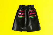 Midi Leather Skirt with Sequin Pocket ; BSP0161