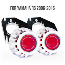 KT LED Angel Halo Demon Eyes HID Projector for Yamaha R6 2006-2016 Headlight Red