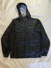 MENS COLUMBIA SPORTSWEAR FLASH FORWARD WINDBREAKER HOODED JACKET BLACK STRIPE
