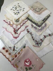 Vintage Ladies Hankies Lot Of 15 - Whites with scalloped edge   corner design
