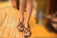 Dark-Brown Leather Biblical Women's Sandal Handmade Boho Roman Buckle Ankle Flat