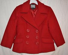 Girls Rothschild Red Wool Coat peacoat pea coat jacket size 7 excellent