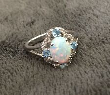 Genuine Opal Ring Sterling Silver Band With Diamonds And Blue Topaz Halo