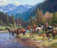 """New Wealth for the Blackfeet"" Martin Grelle Limited Edition 40"" Giclee Canvas"