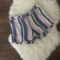 Old Navy Womens Everyday Short Multicolor Stripe Linen Shorts Size 4