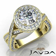 Round Diamond Engagement Cross Shank Halo Ring GIA H VS2 18k Yellow Gold 3ct