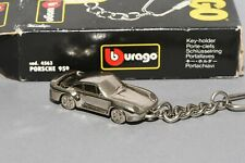 RARE Porsche 959 Chrome Plated Made in Italy Keyring 1:87 Burago unused