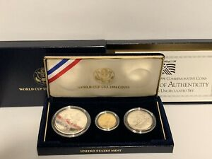 1994 WORLD CUP 3 COIN COMMEMORATIVE SET WITH $5.00 GOLD UNCIRCULATED