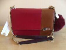 NWT $228 Trina Turk Jackie Rabbit Fur Pompom Leather Shoulder Bag 6JAC18WIN