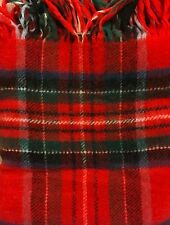"PENDLETON Red Plaid 100% Virgin Wool Blanket Throw Fringe Original Case 50""x50"""