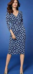 Brand New Kaleidoscope Three Quarter Sleeve Mock Wrap Dress Blue Navy Size UK 24
