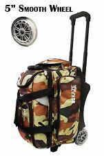 KAZE SPORTS Deluxe 2 Ball Roller Bowling Bag with Smooth PU Wheels