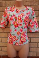 NEW LOOK WHITE NEON PINK GREEN FLORAL SUMMER BLOUSE TUNIC TOP CAMI VEST 12 M
