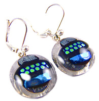 "DICHROIC Glass Earrings Blue Green Silver Patterned Lever Back Dangle 1/2"" 12mm"