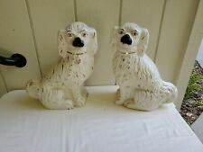 "Pair antique Staffordshire Spaniel Dogs 14"" Mid 18th c Precious Expressions"