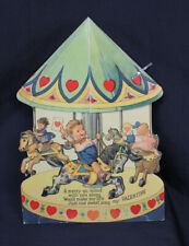 """Vtg Valentine Large Stand Up Merry Go Round 3D Honeycomb Unsent 1930s 9"""" Unsent"""