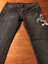 Ed Hardy Jeweled Embroidered Straight Leg Women's Stretch Jeans Size 28 X 33