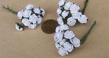 1:12 Échelle 3 Grappes 30 Fleurs De Papier Blanc Roses Maison Poupées Miniature