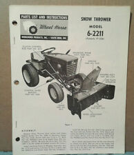 Wheel Horse 6-2211 Snow Thrower Operators, Assembly, And Parts List *Original!*