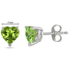 7MM Heart Shape Peridot Earrings in Sterling Silver