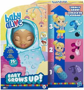 Baby Alive Grows Up HappySpeaking English & Spanish 75+ Sounds 8 Accessories