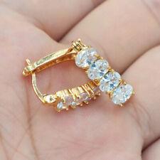 18K Yellow Gold Filled Women Clear Oval Mystical Topaz Zircon Huggie Earrings