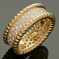 VAN CLEEF & ARPELS Perlée Diamond 18k Yellow Gold Band Ring