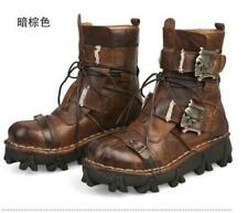 Mens Punk Rock Cow Leather Lace Up Buckle Strap Motorcycle Combat Boots Shoe NEW