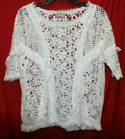 Anthropologie Yoana Baraschi White Fringed Lace Top by Size Small