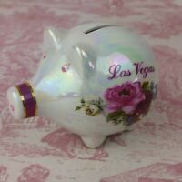 Las Vegas Coin Piggy Bank Ceramic Mother Of Pearl Roses Small