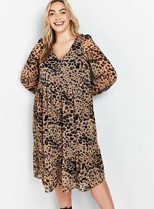 Evans Womens Animal Print Dress Long Sleeve V-Neck Mid Length Loose Fit Skater