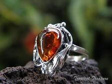 Baltic Amber & 925 SOLID Silver RING (Size 5 3/4, L)    #264611