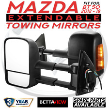 BettaView Extendable Caravan Towing Mirrors MAZDA BT50 2012-18 With Ind BLACK