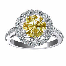 1.50Ct  Light GOLDEN MOISSANITE Sub to Diamond 925 Silver Round Engagement RING