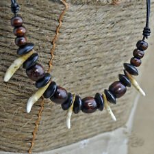 Wooden Beads Amulet Pendant Necklace Great Tooth Small Black Bone
