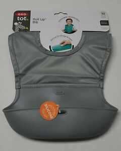 OXO Tot Roll Up Bib Waterproof, Silicone with Comfort-Fit Fabric Neck GRAY