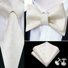 Men's Tie Lvorie Self Tie Bowtie Set 100% Silk Formal Handkerchief  Wedding USA