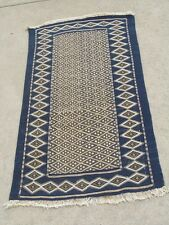 "Rare Fine Antique Indigo Blue Zemmour Moroccan Fez Berber Rug Tapestry 27""x52"""