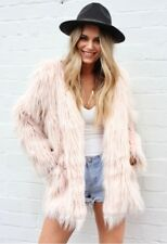 Blush Pink Faux Fur Coat Size 6