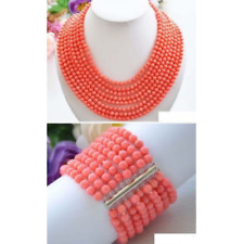 Real Narutal 8row 6MM Pink Round Coral Bead Necklace & Bracelet