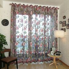 250x100cm Flower Tulle Voile Door Window Curtain Drape Panel Sheer Valance
