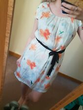 H&M Wedding Dress Shift Floral Hummingbird Watercolour Silky Cap Midi Belt 14