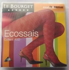 COLLANT femme LE BOURGET  Ecossais BORDEAUX ROUGE  - 40 deniers