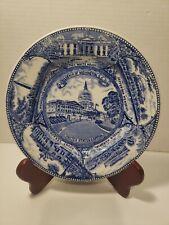 "Vintage US Capitol White House Blue And White 7"" Souvenir Plate By Capsco Japan"