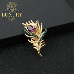 Natural Amethyst Gold Plated Real 925 Sterling Silver Feather Brooch and Pins