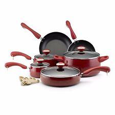Paula Deen Porcelain Nonstick Surfac 15 piece Set Red Cookware Pans Pots Kitchen