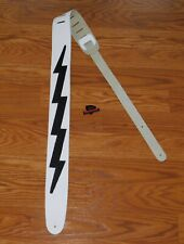 Kiss Ace Frehley Guitar Lightning Leather Strap White Gibson Pick Parts Weezer